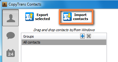 import button to transfer outlook contacts to iphone