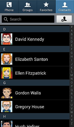 open people or contacts app on android phone