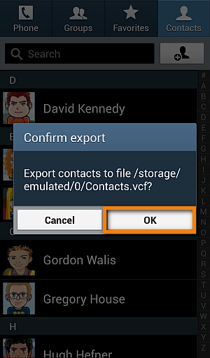 save android contacts to SD card
