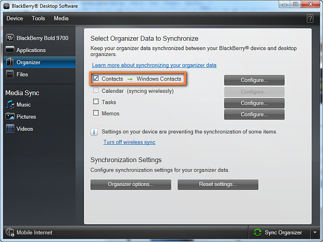 transfer  Windows Contacts to BlackBerry