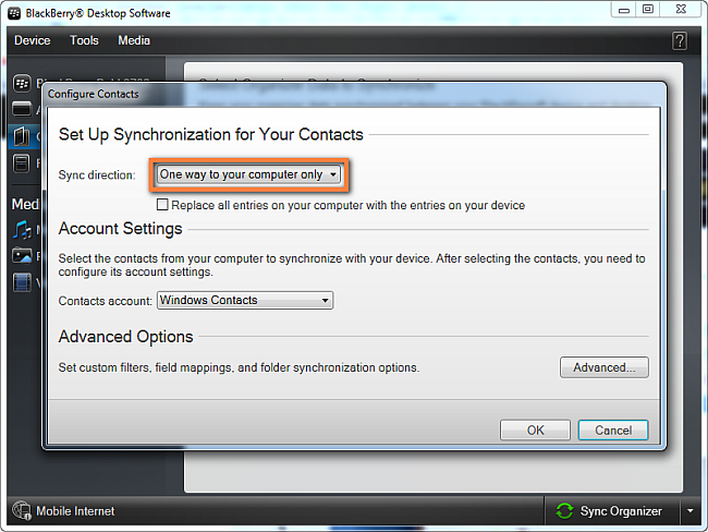Transfer BlackBerry contacts to Windows Contacts settings