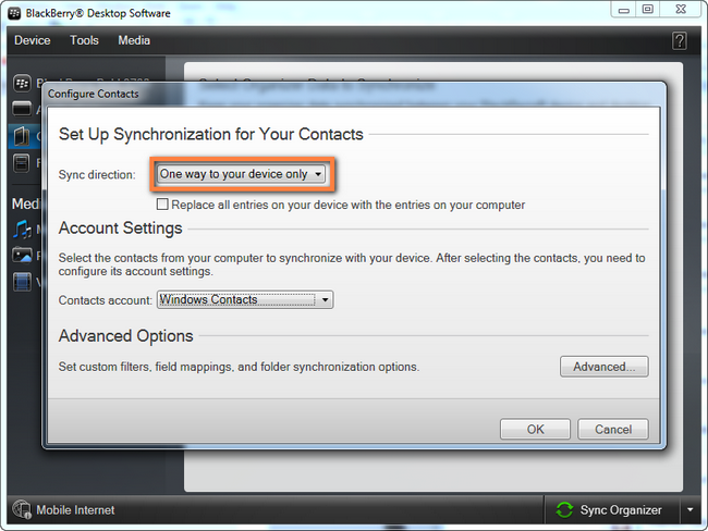 transfer  Windows Contacts to BlackBerry settings