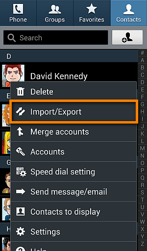 contacts import export menu on android phone