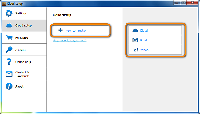 select type of cloud account to add