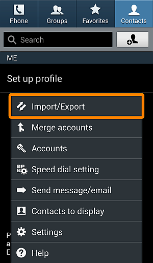 select import contacts in galaxy s4