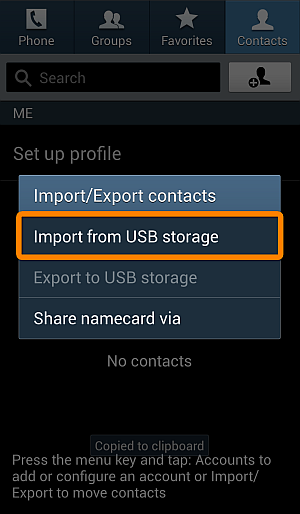 import contacts to samsung galaxy from usb storage