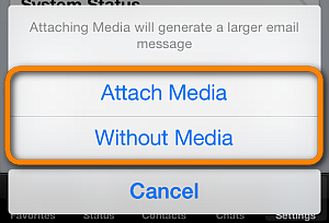attach chat media to email upon send of whatsapp message