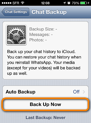 tap back up now to save whatsapp chats