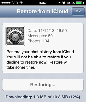whatsapp restoring chat history from icloud