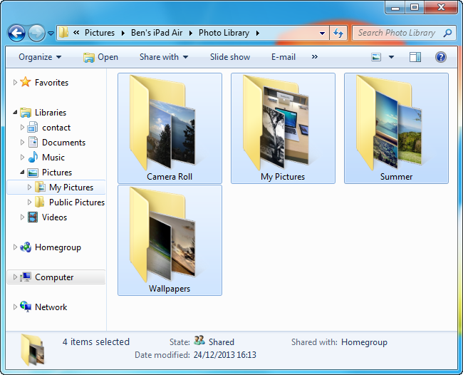 ipad photo albums appearing as individual pc folders