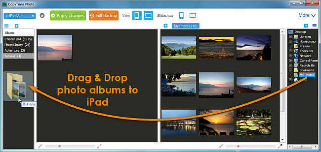 drag and drop photo albums to ipad