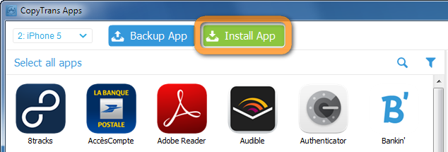 button to install apps in copytrans