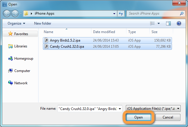 copytrans app window to open backed up ipa files