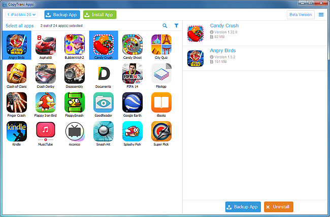 copytrans apps selection of iphone games