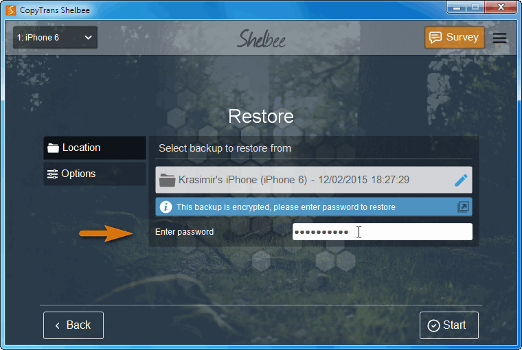 restore encrypted ios backup with copytrans shelbee