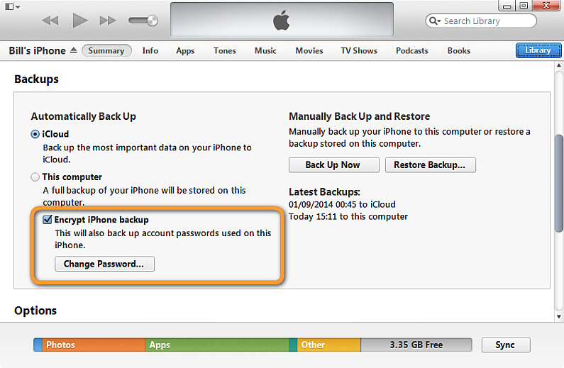 itunes encrypt iphone backup