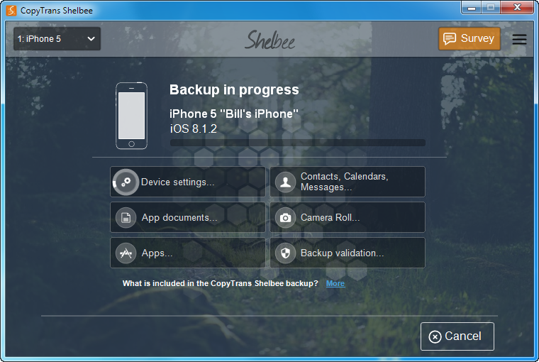 backup iphone content in progress