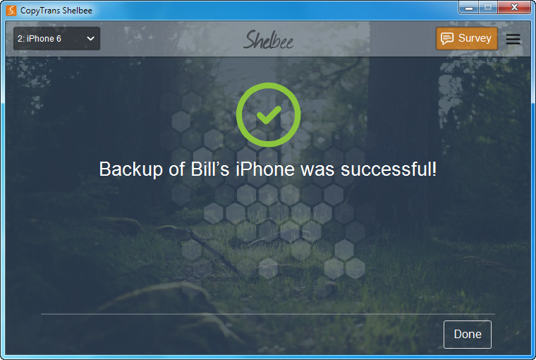 backup completed screen in copytrans shelbee
