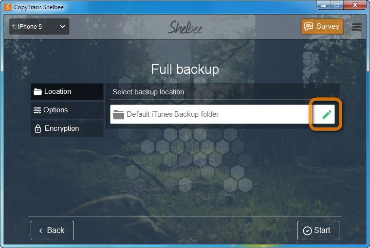 select where to save backup files with copytrans shelbee