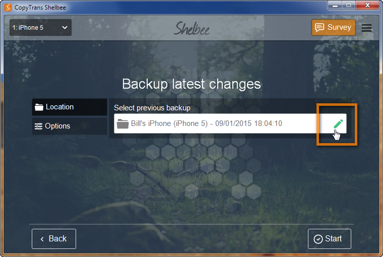 screen allowing to select previous backup on which to base the new latest changes one