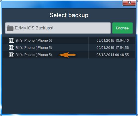 window listing previous iphone backups