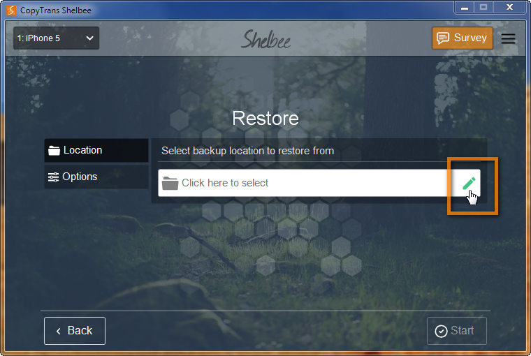 copytrans shelbee window allowing to select backup to restore from