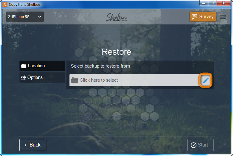 browse for the location of backup from which to restore from in copytrans shelbee